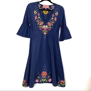 JWLA Johnny Was Dress Embroidered Bell Sleeve M